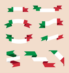ribbons or banners in colors of italian flag vector image