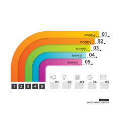 Road timeline infographics business with 5 path vector