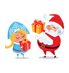 santa claus and snow maiden decor present boxes vector image