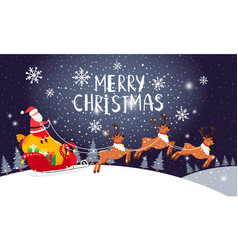 Santa driving sleigh christmas holiday night card vector