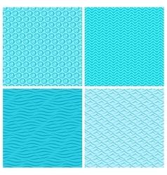 Seamless blue wave patterns vector image