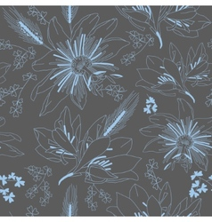 Seamless dark grey pattern with flowers lily vector
