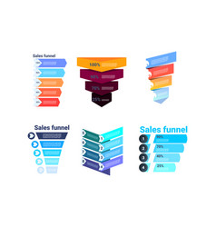 Set divercity sales funnel with steps stages vector