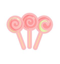 set of lollipops candies of pink vector image