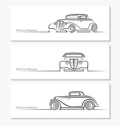 set vintage car silhouettes vector image