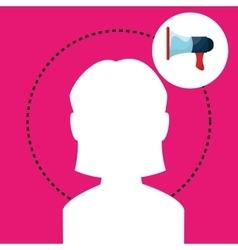 Silhouette woman megaphone vector