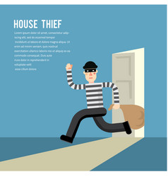 Simple cartoon a burglar break into a house vector