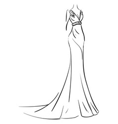 simple sketch of a long evening dress on white vector image