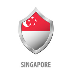 singapore flag on metal shiny shield vector image