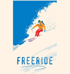 Skier - freerider riding down mountainside vector