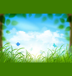 Spring landscape with clouds vector