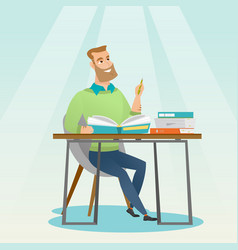 student writing at the desk vector image
