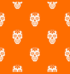 Sugar skull flowers on the skull pattern seamless vector