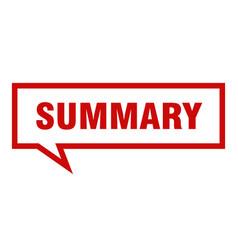 Summary sign summary square speech bubble summary vector