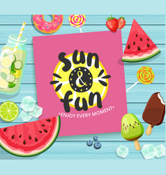 summer card on blue wooden background vector image
