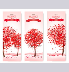 three holiday banners valentine trees vector image