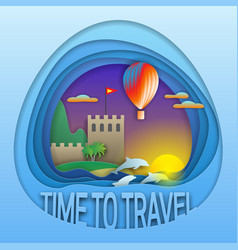 time to travel emblem sunset with hot air vector image