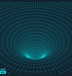wireframe torus background wormhole vector image