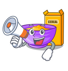 With megaphone cereal box in a cartoon bowl vector