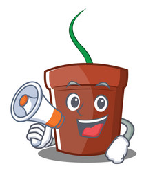 With megaphone flower pot character cartoon vector
