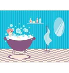 Woman in bath vector image