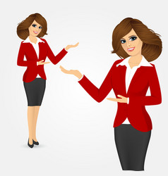 young business woman showing something vector image