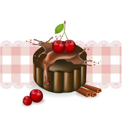 cherry cake on a vintage pattern delicious vector image