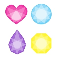 Diamonds icons set in different colors vector image vector image