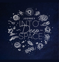 flat deep space monogram blue vector image