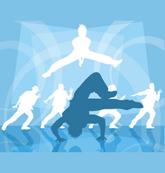 three dancing teenagers vector image