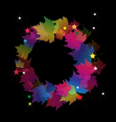Beautiful Colorful Wreath Made From Maple Leaves vector image vector image