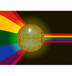 Disco ball glowing over rainbow background vector image vector image