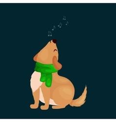 Dog singing christmas songs and jingle bells music vector