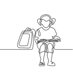 girl reading book back to school concept vector image vector image