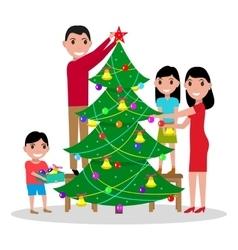 happy family decorates Christmas tree vector image vector image