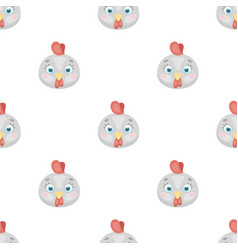 Hen muzzle icon in cartoon style isolated on white vector