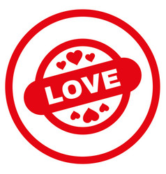 love stamp seal rounded icon vector image vector image