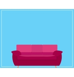 Pink Sofa Icon on Blue Background vector image vector image