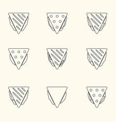 Set of outline tortilla or sandwich tacos food vector