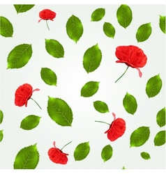 Spring seamless pattern with leaves and poppies vector image vector image