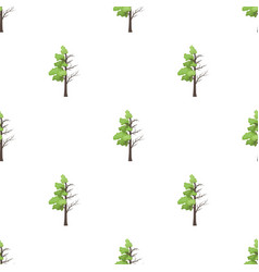 Tree half full of green leaf and half dry icon in vector