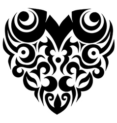 Tribal heart valentine swirl vector image