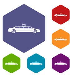 wedding car decoration icons set vector image