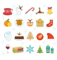 Christmas icons set Set of traditional christmas vector image
