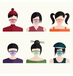 flat design set japanese girls in medical masks vector image vector image