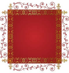 gold floral frame vector image vector image