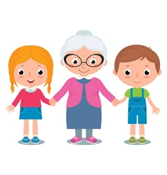 Grandmother and grandchildren a boy and girl vector image