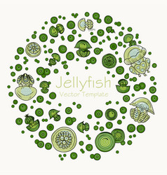 abstract round frame with cartoon jellyfish vector image vector image