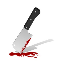 Big knife with blood vector