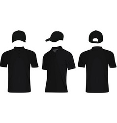 Black polo t shirt and baseball cap vector